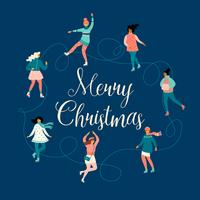 Vector illustration of women skate. Christmas and New Year mood.