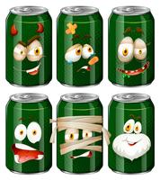 Facial expressions on soda cans