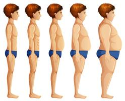 Man Body Transformation on White Background vector