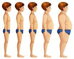 Trasformazione del corpo dell'uomo su fondo bianco