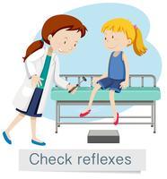 Una niña revisando reflejos con el doctor