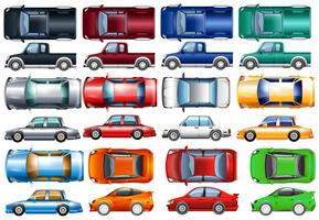 Set of cars and trucks in many colors