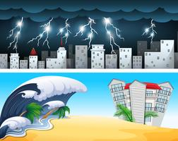 Two disaster scenes with tsunami and thunders