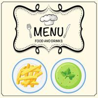 Soup and frenchfries on menu