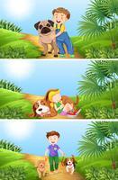 Jongen en meisje met hond