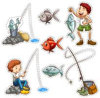 Sticker design for people fishing
