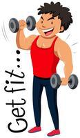 Design Flashcard para entrar em forma com o homem fazendo levantamento de peso