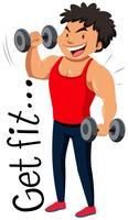 Flashcard ontwerp om fit te worden met de mens die gewichtheffen uitvoert