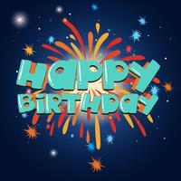 Plantilla de tarjeta de feliz cumpleaños con fuegos artificiales en el fondo
