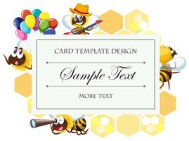 Card template with bee in different actions