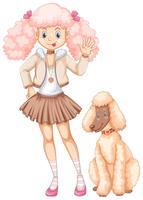 Cute girl and fluffy poodle dog