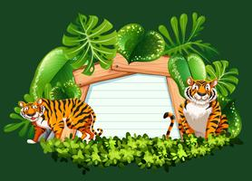 Frame template with wild tigers