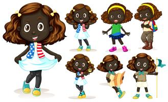 African American girl doing different activities vector
