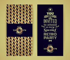 Invitation to retro party. Vintage retro geometric background.