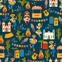 Latin American holiday, the June party of Brazil. Seamless pattern. vector