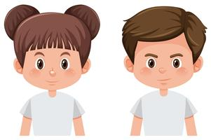 Set of brunette male and female character vector