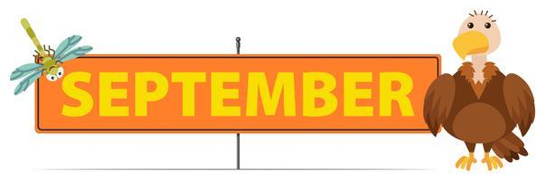 Signo de septiembre con buitre y libélula.