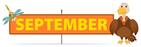 September Schild mit Geier und Libelle