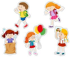 Sticker set with boy and girl