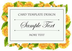 Card template with yellow calendula flowers