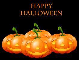 Cartão de feliz dia das bruxas com jack o lanterns