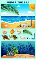 Thème de l'océan avec la plage et sous l'eau