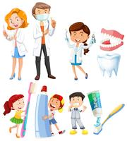 Dentist and children brushing teeth