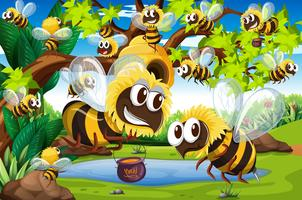 Muitas abelhas voando ao redor da colmeia no jardim