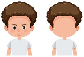 Set of curly boy character