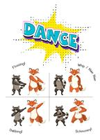 Cute animals dancing concept