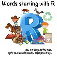 English words starting with the letter R vector