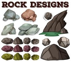 Diferentes tipos de diseños de rock.