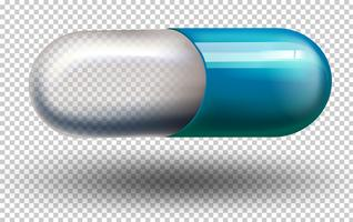 Une capsule sur fond transparent