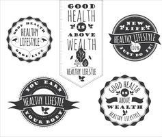 Set med hälsosam livsstil Etiketter och tecken