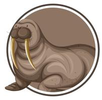 A walrus on circle banner