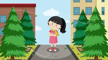 Uma garota e vento frio