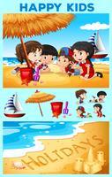 Enfants s'amusant sur la plage
