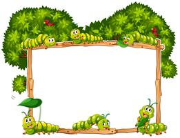Border template with green caterpillars