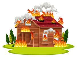 Stuga trähus i brand