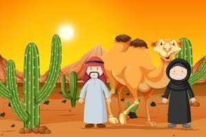 Camel and two muslim people
