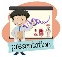 Wordcard for presentation with boy presenting in science class