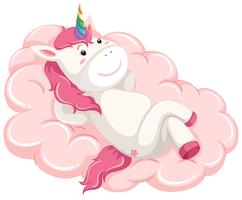 A unicorn lay down on the cloud