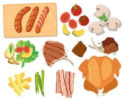 Verschillende sets barbecuevoedsel