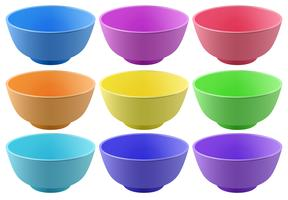Colorful bowls vector