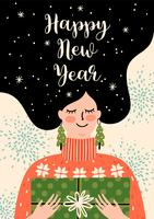 Christmas and Happy New Year illustration. Trendy retro style.