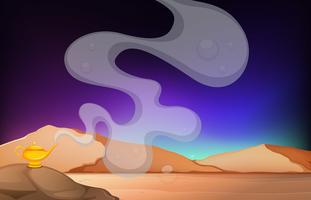 Escena del desierto con lámpara dorada sobre la roca