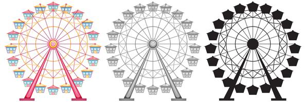 Set of ferris wheel on white backgrond