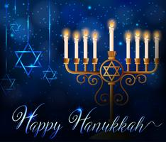 Happy Hanukkah card template with lights on sticks and star symbol