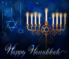Glückliche Chanukka-Kartenschablone mit Lichtern auf Stöcken und Sternsymbol