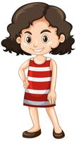 Little girl in red and white dress